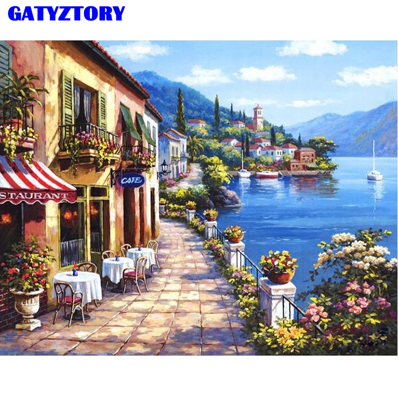 No Frame Landscape DIY Painting By Numbers Modern Wall Art Canvas Painting Kits Coloring Paint By Numbers For Home Decor Artwork