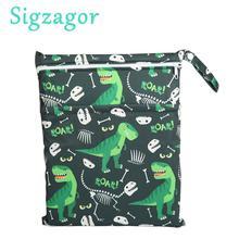 [Sigzagor] 1 Влажная сухая сумка, сумка для подгузников, сумка для подгузников, вставка, две молнии, Детская водонепроницаемая многоразовая сумка с черепом и каркасом, 100 дизайнов