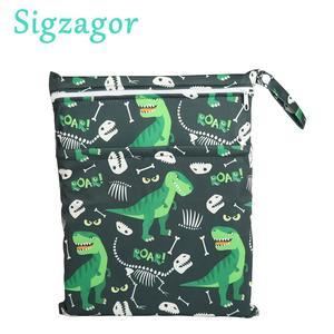 [Sigzagor]1 Wet Dry Bag Diaper Bag Nappy Bag Insert Two Zippered Baby Waterproof Reusable Skull Jack Skeleton 100 Designs(China)