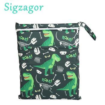 [Sigzagor]1 bolso húmedo seco bolsa de pañales insertar dos cremalleras bebé impermeable reutilizable cráneo Jack esqueleto 100 diseños