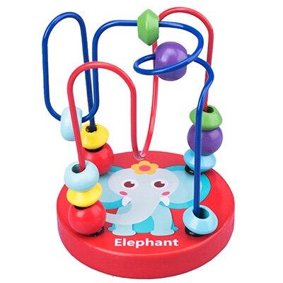 Деревянные игрушки Монтессори, деревянные круги, бусина, проволока, лабиринт, американские горки, Обучающие деревянные пазлы для мальчиков и девочек, детские игрушки 6+ месяцев - Цвет: elephant