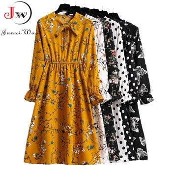 Women Casual Spring Autumn Dress Korean Style Vintage Floral Printed Shirt Dress Long Sleeve Elegant Bow Midi Summer Vestidos 1
