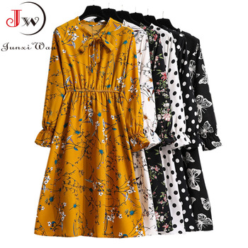 Women Casual Spring Autumn Dress Korean Style Vintage Floral Printed Shirt Dress Long Sleeve Elegant Bow Midi Summer Vestidos banulin summer runway designer bow neck pleated dress women lace patchwork floral print elegant holiday midi dress vestidos