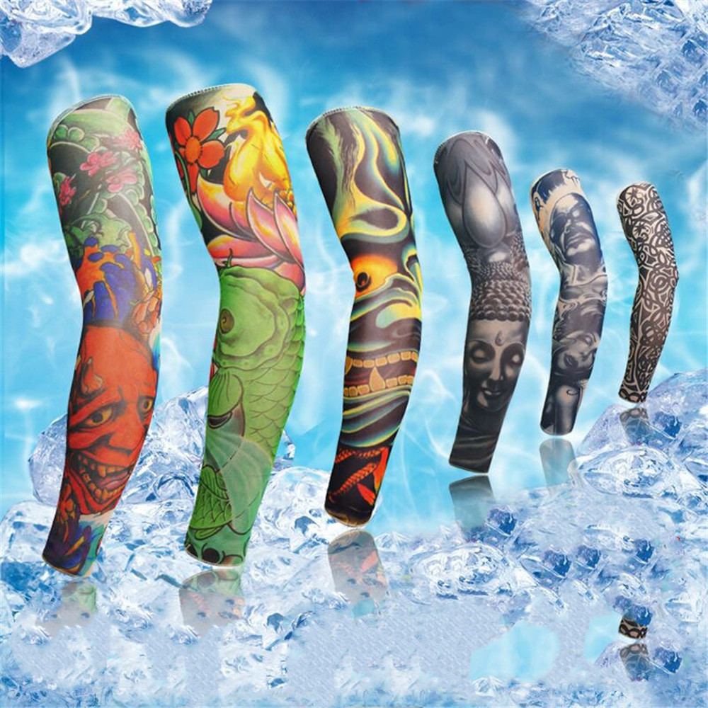 1PC Outdoor Cycling 3D Tattoo Printed Arm Sleeves Sun Protection Bike Basketball Compression Arm Warmers Ridding Cuff Sleeves