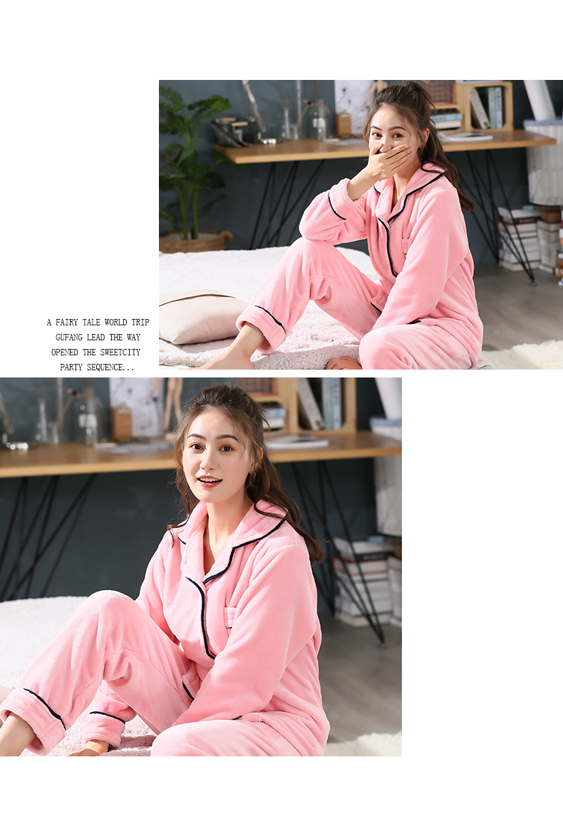 Plus Size 3XL 4XL 5XL Pyjamas women winter new Korean kawaii pink coral fleece warm pajama set thick flannel pijama home service 189
