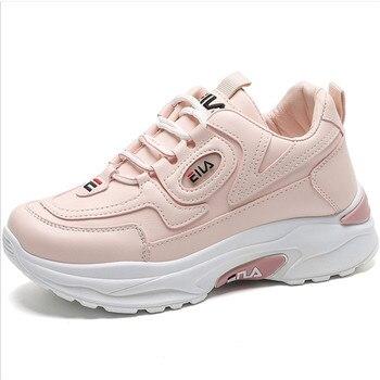 Zapatos deportivos de suela gruesa de cuero para Mujer, Zapatillas femeninas de...