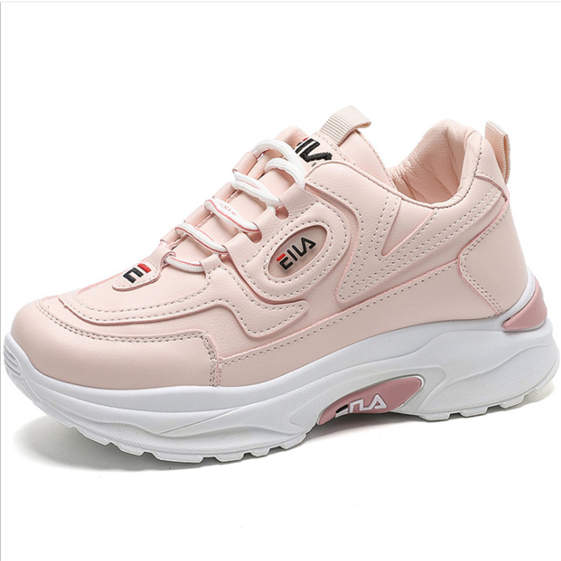 2020 Brand  Women Leather Thick-soled Sports Shoes Woman Zapatillas Mujer Wedgerunning Shoes Fashion Designers White Sneakers