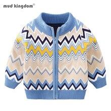 Kids Sweater Knitted Geometric-Pattern Cardigan Mudkingdom Baby Winter Thick Velvet Coat