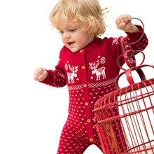 Emmaaby/Рождественский свитер для новорожденных; комбинезон для маленьких мальчиков и девочек; одежда из хлопка для малышей; праздничные комбинезоны с длинными рукавами для девочек