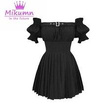 Gothique filles robe noire Style Preppy été femmes Sexy épaules nues taille haute plissée mince Mini robe Punk robes