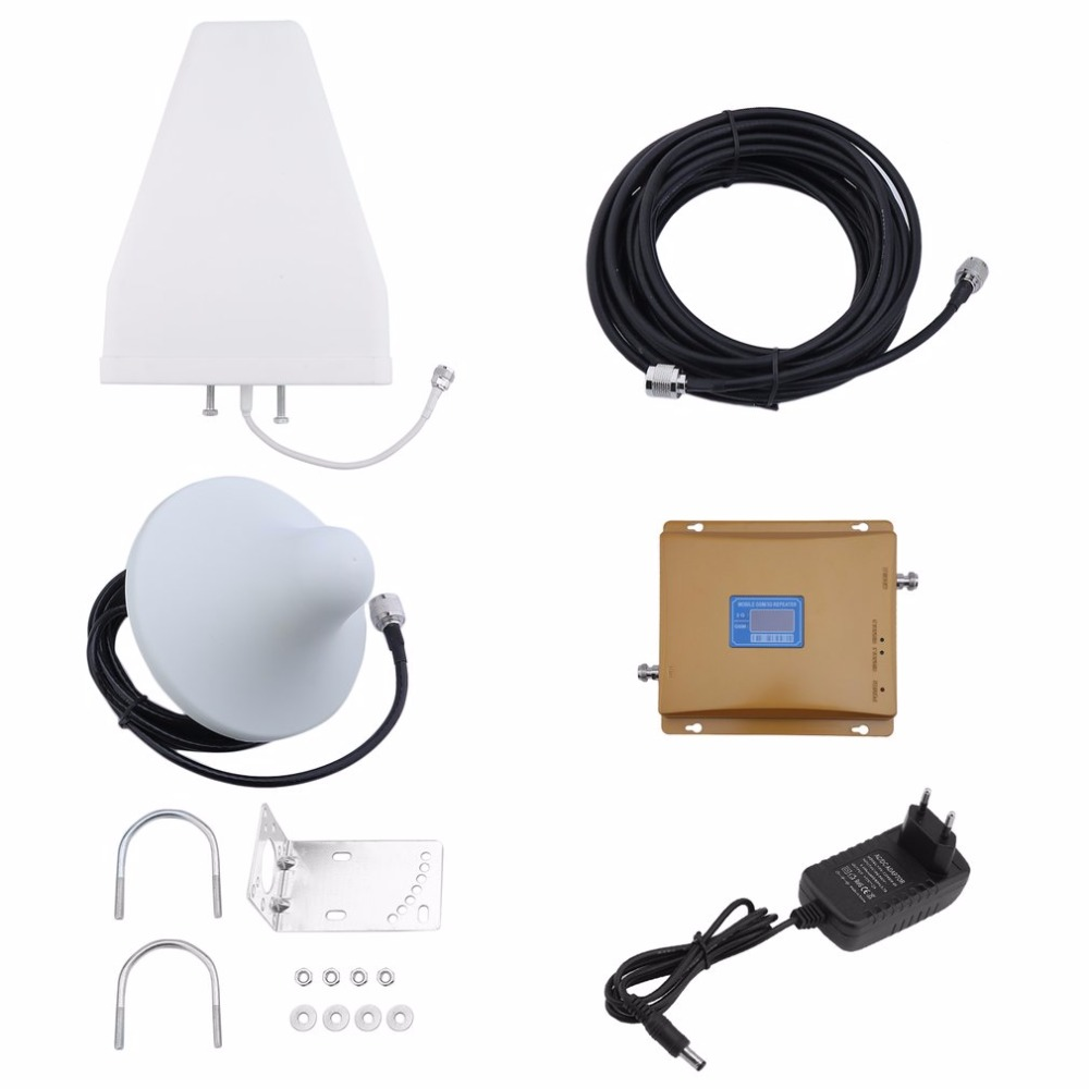 900Mhz 2100MHZ Dual Band LCD Display Mobile Cell Phone Signal Amplifier Phone Signal Booster Repeater Set Drop Shipping