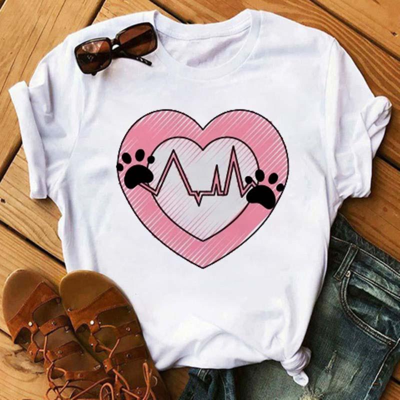 Maycaur Fashion Women Dogs Paws T Shirt Peace Love Dogs Funny Casual O neck Short Sleeves T shirt Summer Kawaii Female Tee Shirt