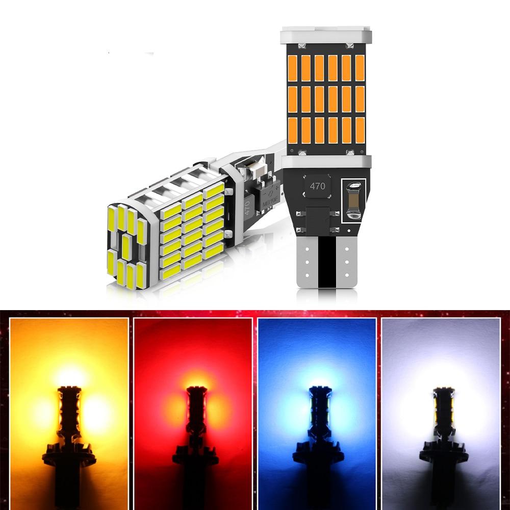 2 шт. повышенная яркость Автомобильные светодиодные лампы T15 W16W для автоматического резервного копирования Фары заднего хода WY16W 921 Canbus без о...