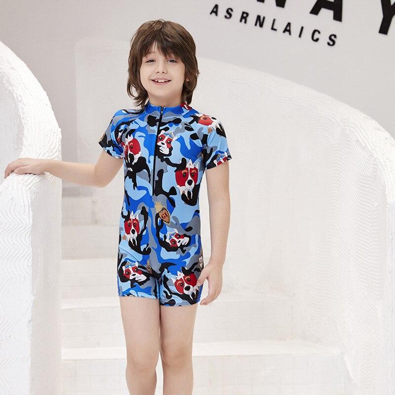 2019 Europe And America New Style Hot Sales KID'S Swimwear One-piece Send Swimming Cap Camouflage Cartoon Dog Zipper Handsome BO