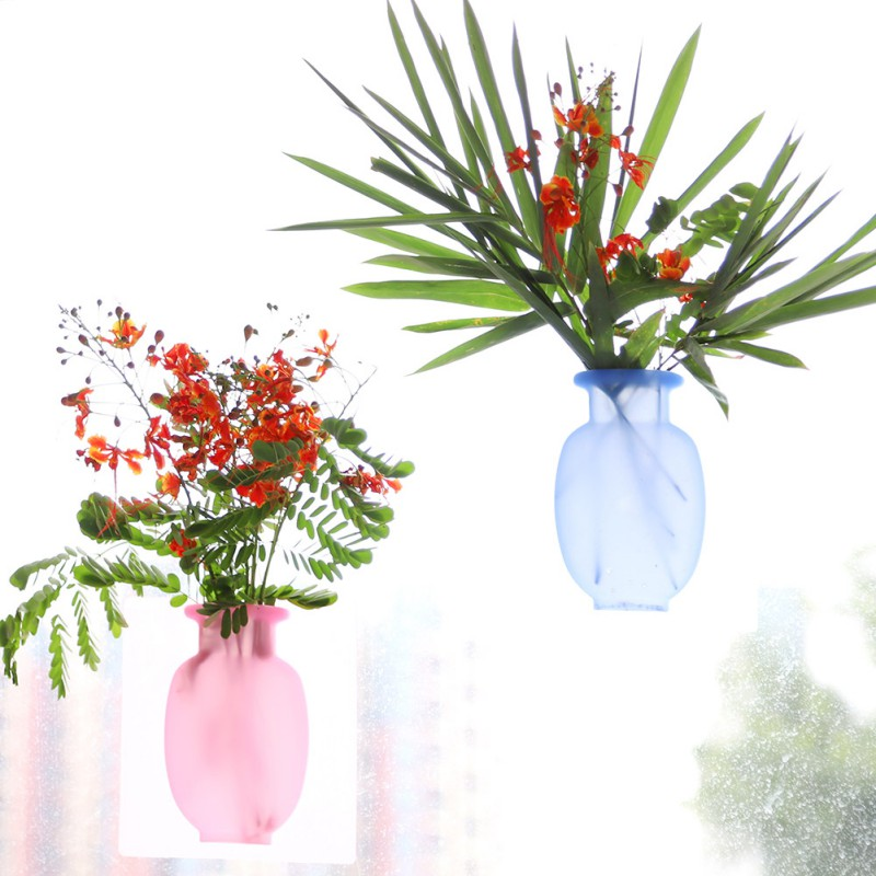 1pc Wall Mount Flowers Vases Silicone Handmade Flower Pot Container Vase Wall Decor Sticker Flower Vase Office Home Decoration