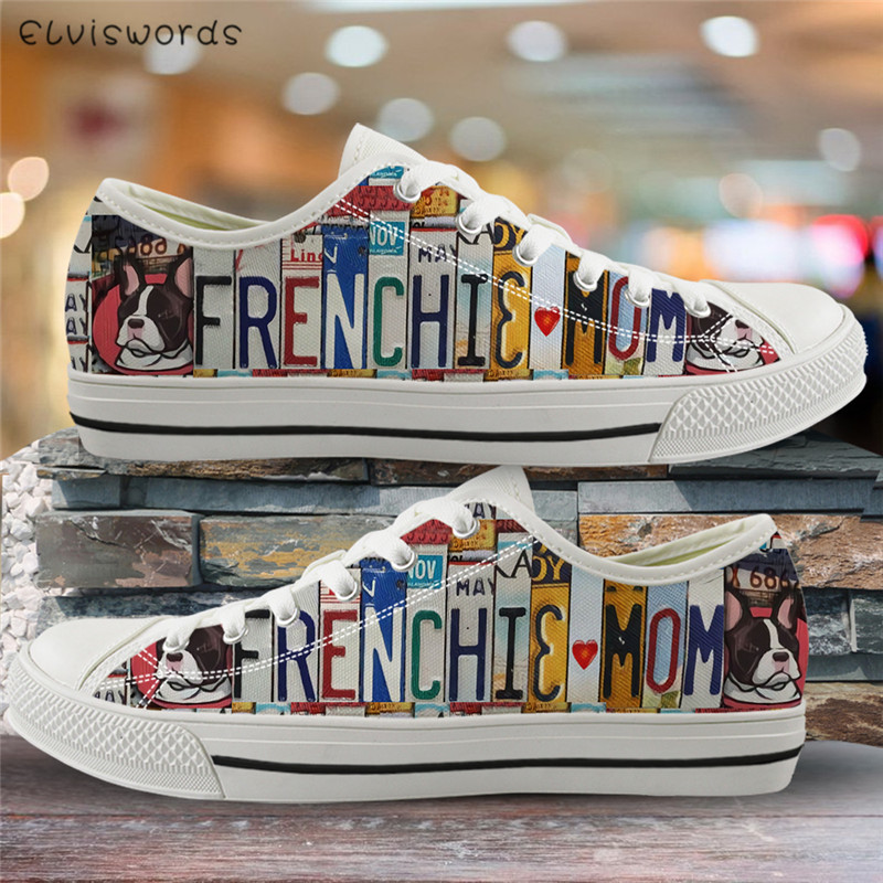 ELVISWORDS French Bulldog Mom Print Women Casual Shoes Canvas Vulcanized Shoes For Ladies Breathable Spring Low Top Flats Travel