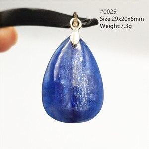 Image 2 - Natürliche Blau Kyanit Katze Auge Wirkung Halskette Anhänger Glück 925 Silber Frauen Männer Liebe Jahrestag Geschenk Mode Anhänger AAAAA