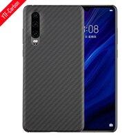Ytf-funda de fibra de carbono para teléfono Huawei P30, carcasa protectora de fibra de aramida, ligera, fina, mate