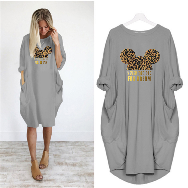 2020 Dress Women Cute Printing Pocket Loose Dresses Vintage Fall Maxi Clothes Party Casual Dresses Woman Plus Size Leopard Dress