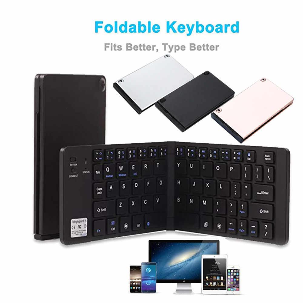 Portatile Pieghevole Tastiera Ultra Sottile Senza Fili di Bluetooth Pieghevole Tastiera con il Basamento Del Telefono Cellulare per IOS Android Finestre Tasca
