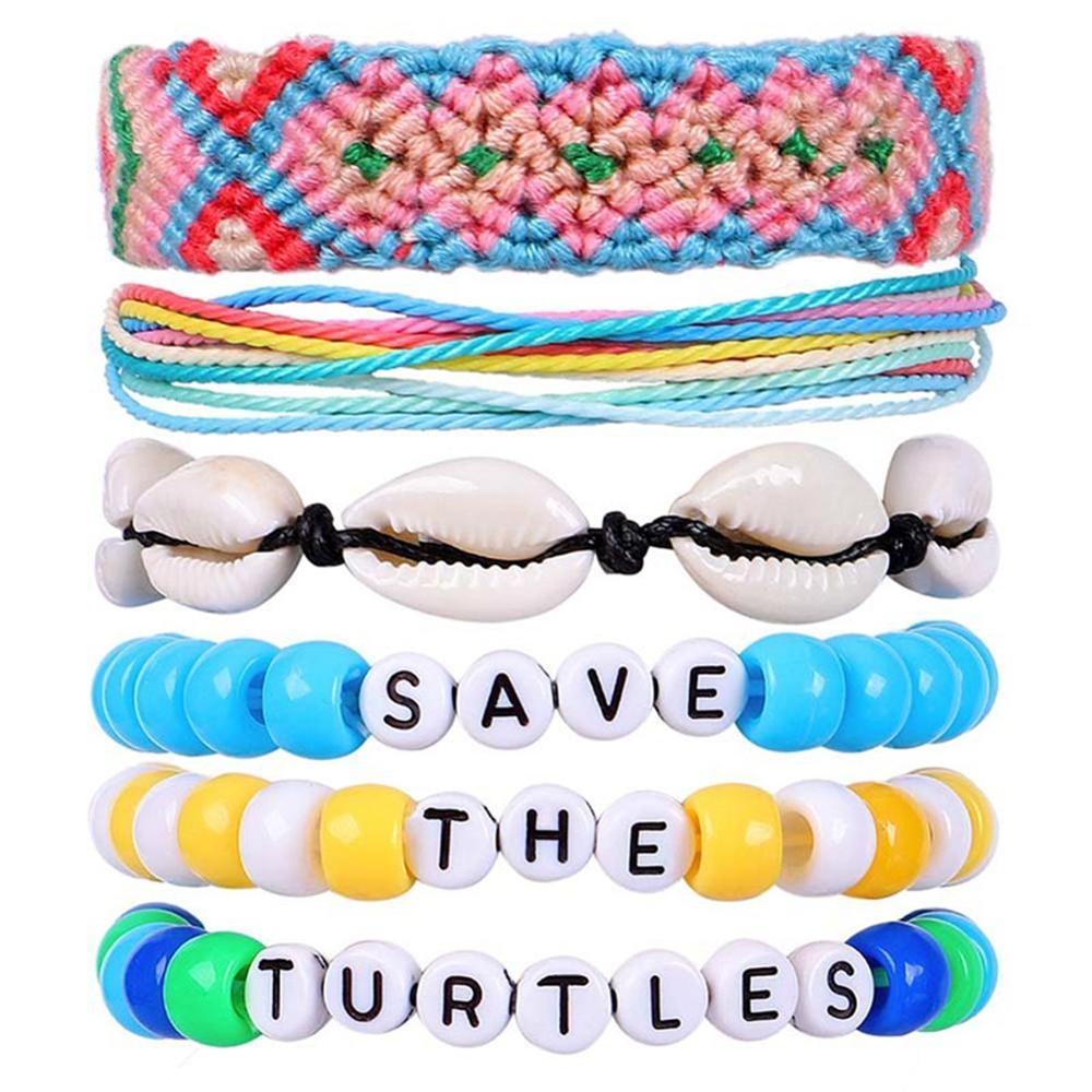 Водонепроницаемые браслеты Vsco, браслет из натуральной ракушки для девочек, набор из плетеных бусин дружбы «сохранить черепашек», «Good Vibes ...