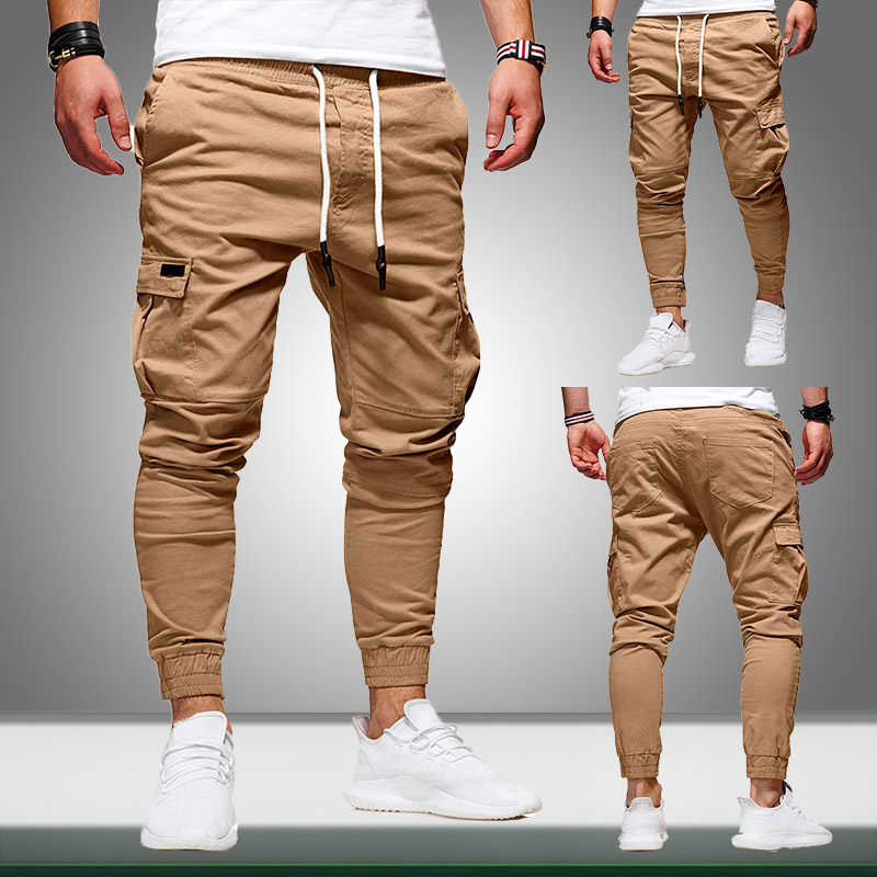 Autumn Men Joggers Pants 2019 New Casual Male Cargo Military Sweatpants Solid Multi-pocket Hip Hop Fitness Trousers Sportswear