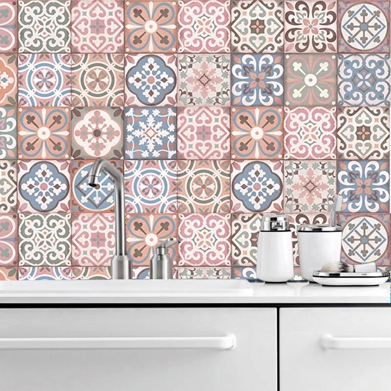 set of 14 pink vintage style tiles