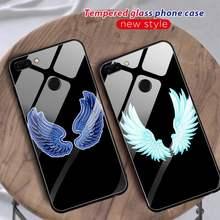 Asas de anjo caso telefone para huawei p30 lite 20 por p9 10 companheiro 10 9 honra 9 10 nova 5 capa de vidro para huawei p20 caso