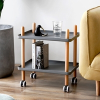 Modern Minimalist Movable Living Room Sofa Side Cabinet Small Cart With Wheels Mobile Coffee Table Solid Wood Square Nordic