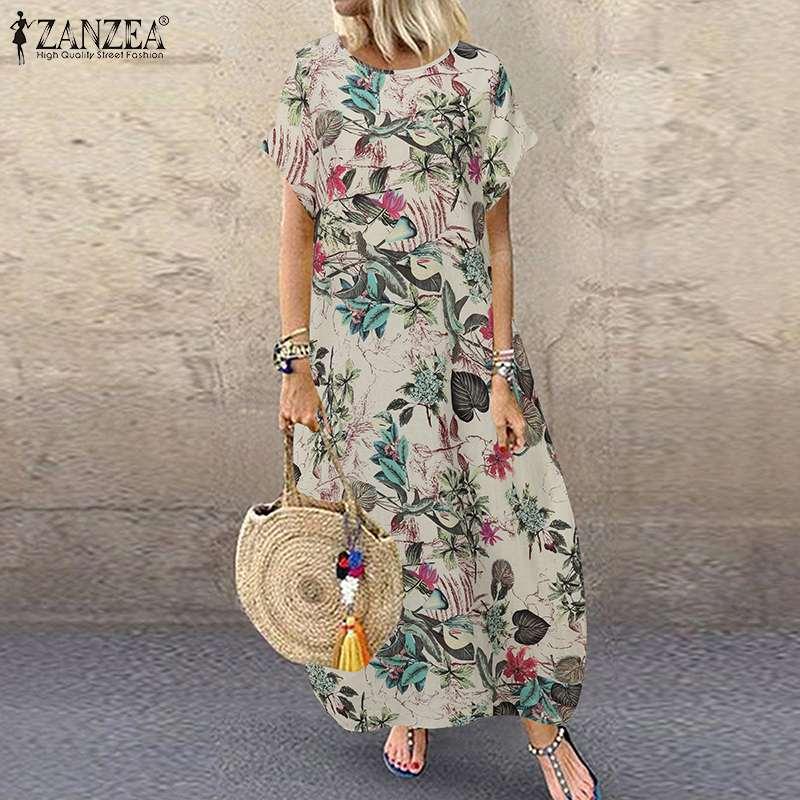 ZANZEA Bohemian Floral Printed Dress Summer Short Sleeve Cotton Linen Vestido Vintage Party Sundress Plus Size Loose Dresses