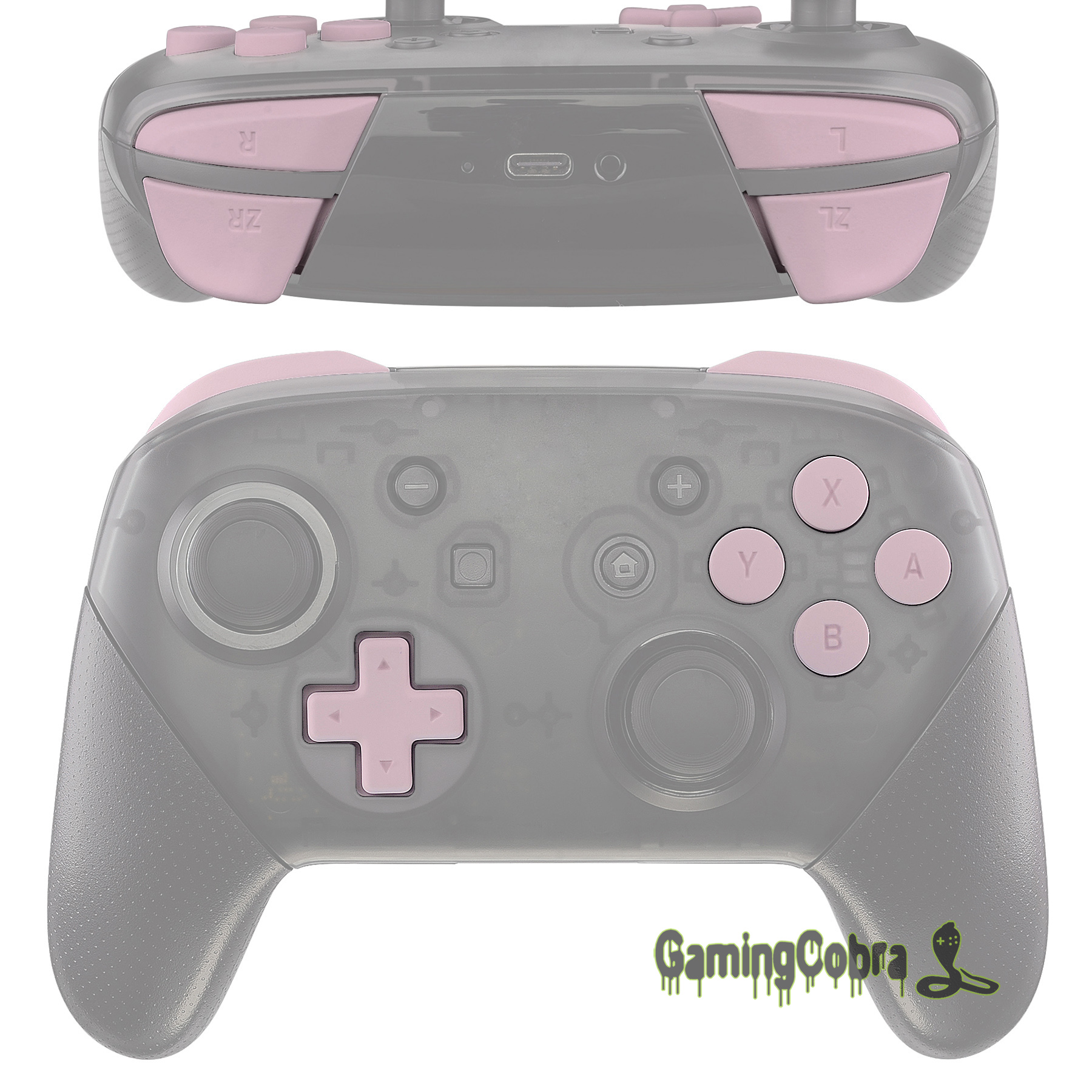 Soft Touch Sakura Pink Repair ABXY D-pad ZR ZL L R Keys Replacement Full Set Buttons W/ Tools For Nintendo Switch Pro Controller
