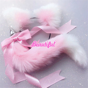 Image 2 - Cute Soft Cat ears Headbands with Fox Tail Bow Metal Butt Anal Plug Erotic Cosplay Accessories Adult Sex Toys for Couples