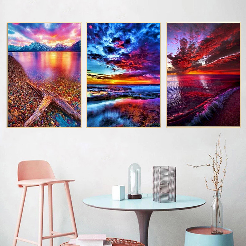 Gatyztory 3pcs Paint By Numbers For Adults Children Sunset Landscape HandPainted Oil Painting Canvas DIY Gift Home Decor 40×50cm