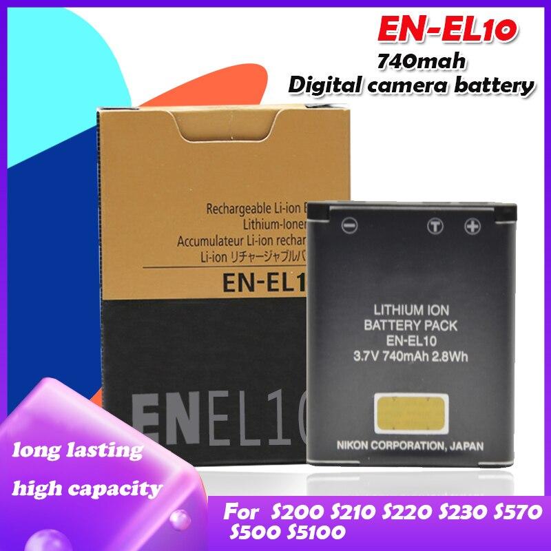 Batterie Li-ion EN-EL10 mah EN EL10 pour Nikon COOLPIX S200 S210 S220 S230 S3000 S4000 S500 740 S5100 S520 S570 S60 S600 S70, 510
