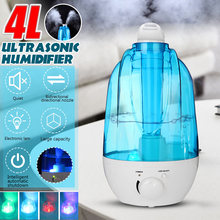 Humidificador de aire portátil, 4L, Mini Humidificador ultrasónico, difusor de Aroma, generador de niebla, purificador de aire, lámpara LED