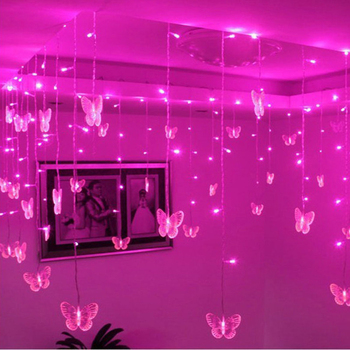 3.5m Pink LED String Strip Holiday Light For PARTY FAIRY Christmas Wedding 100 SMD 16p Butterflies EU/US/AU/UK Plug 110V 220V