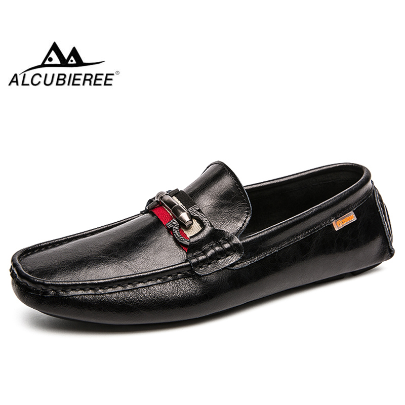 ALCUBIEREE Autumn Fashion Loafers for Men Casual Slip-on Driving Shoes Outdoor Lightweight Walking Boat Male Flat Moccasin