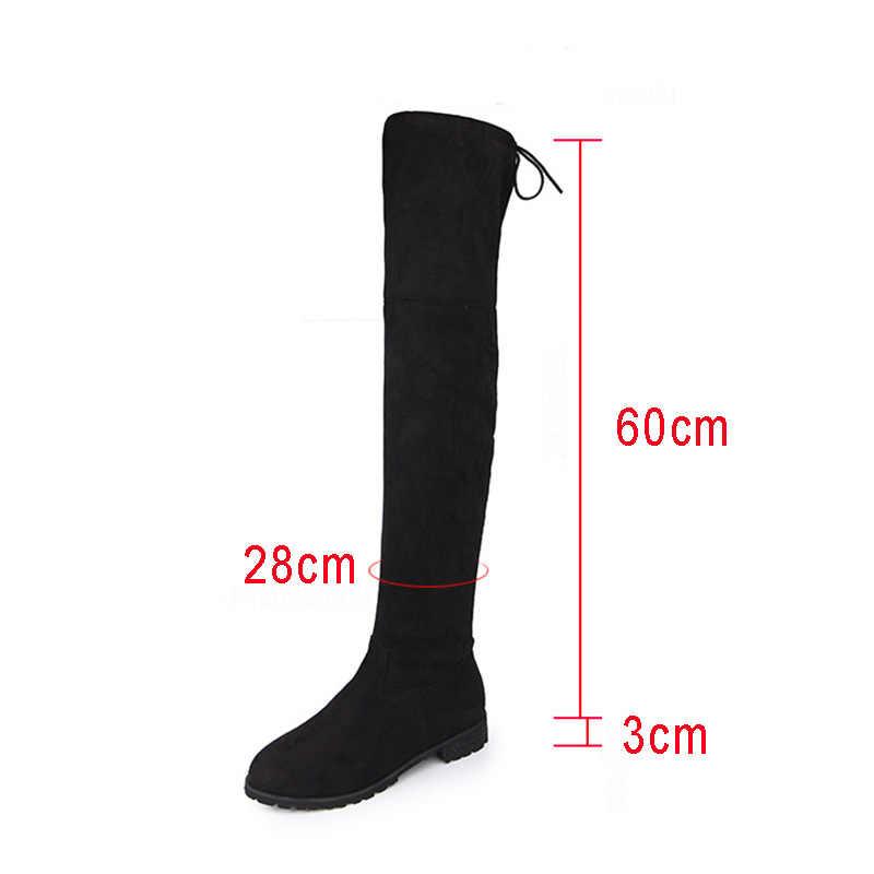 เซ็กซี่เข่ารองเท้าผู้หญิง Winter Boots Plus ขนาด Suede ผู้หญิงรองเท้าแบนรองเท้าผู้หญิงต้นขาสูงรองเท้าผู้หญิงหญิงรองเท้า