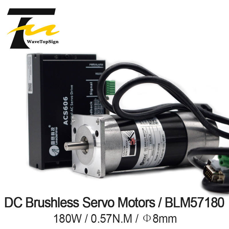 Leadshine 180W Brushless DC Servo Motor+Drive Kit BLM57180-1000+ACS606+Cable 6.7A 0.57NM 3000RPM Pulse Control