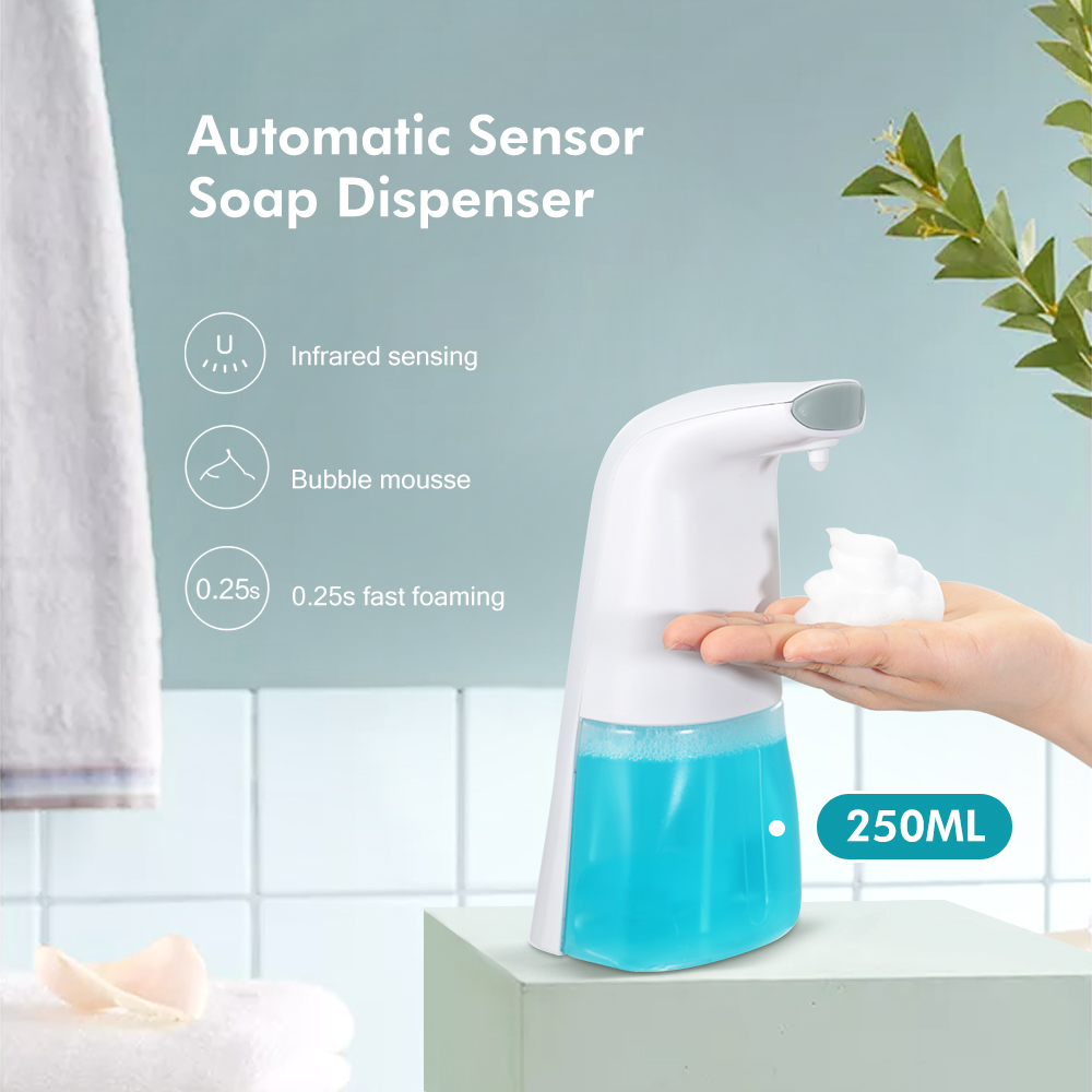 250ML Automatic Foam Soap Dispenser Intelligent Liquid Soap Dispenser Bathroom Contactless Infrared Sensor Induction Hand Wash