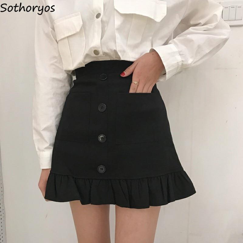 Faldas Mujer negro falda ajustada A-Line mujer cintura alta verano Mujer bolsillos solo pecho Simple elegante color sólido Chic