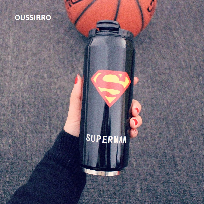Creative Stainless Steel Super Hero Avenger Justice League Thermos Portable Unisex Students Personality Trendy Straw Cup
