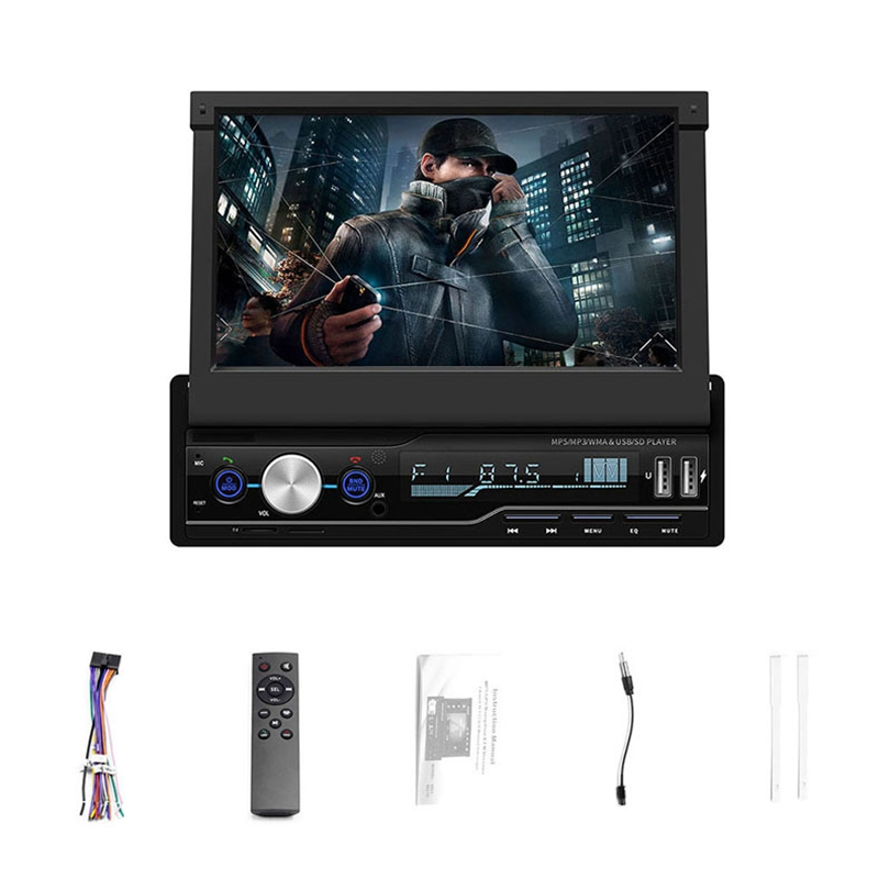 7 Inch Car Stereo Audio Radio 1 Din MP5 Player with Folding Press Screen AM/FM Receiver Bluetooth GPS AUX USB SD SWC+A Backup Ca image