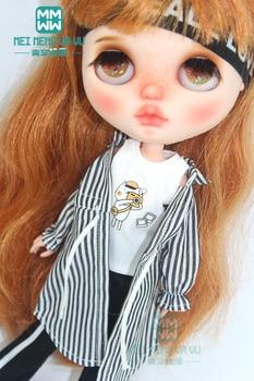 1pcs Blyth doll Clothes fashion striped shirt for Blyth Azone OB23 OB24 1/6 doll Christmas gift 1pcs blyth doll clothes fashion denim clothing t shirts shoes for blyth azone ob23 ob24 1 6 doll accessories