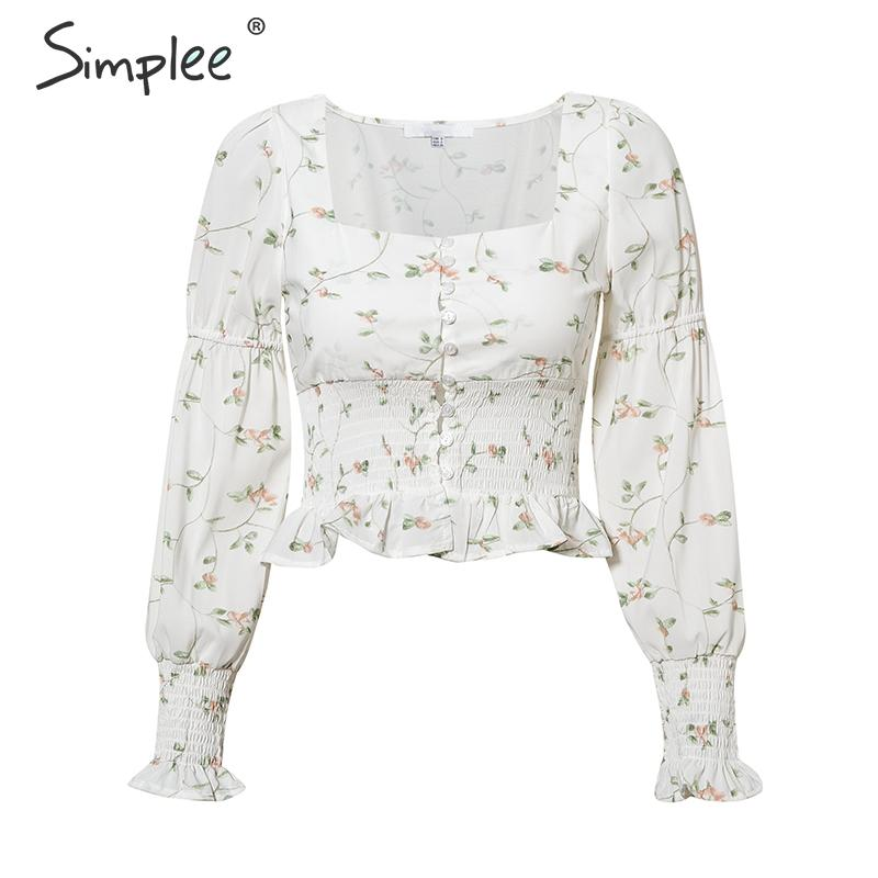 Simplee Elegant White Blouse Women Shirts 2020 Vintage Flower Print Blouse Tops Summer Casual Ruffles Short Tops Blusas Female