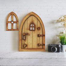 Accesorios para casa de muñecas de Mini casa de muñecas puerta de madera Kit para manualidades con flor puerta de madera para casa de muñecas miniatura casa de muñecas partes