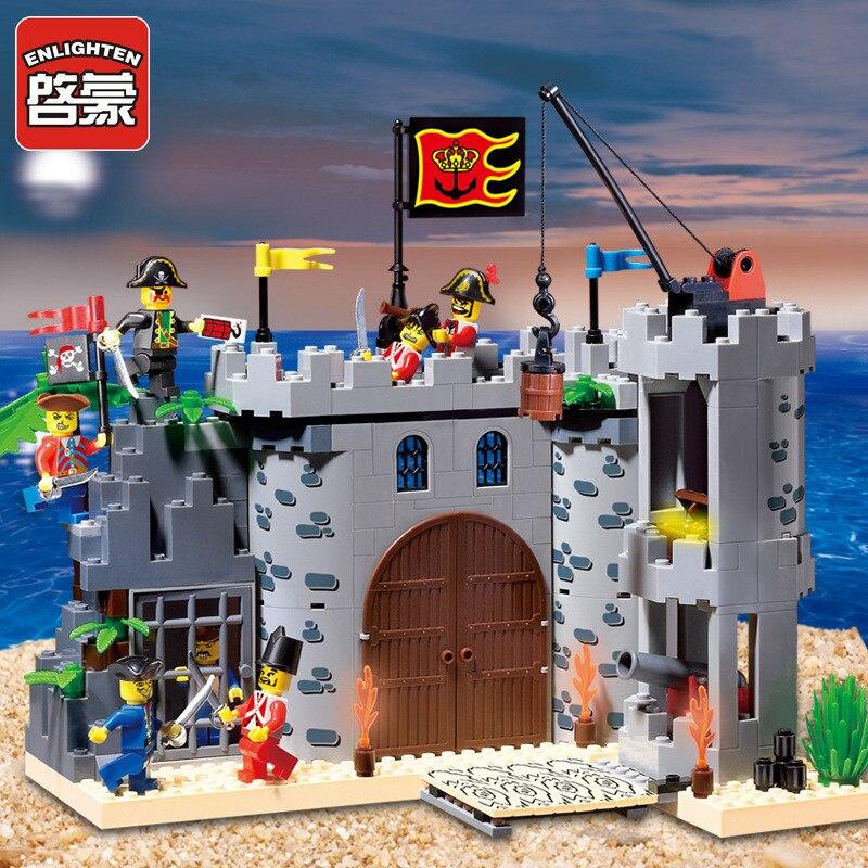 Enlighten 366Pcs Castle Pirates Robbery Barracks Ship Building Blocks Sets Brinquedos DIY LegoINGLs Juguetes Toys For Children