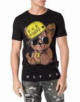 qplein Fitness O Neck Skull Print Black White Cotton T Shirt Hip Pop Street Style Printed Crystal Cotton T Shirt
