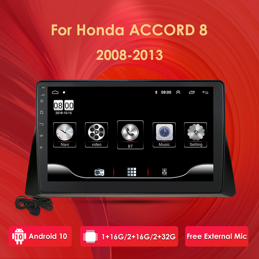 2 Din 2GB Ram 32GB ROM <font><b>Android</b></font> 10 10.1'' Car <font><b>Radio</b></font> Multimedia Player For <font><b>Honda</b></font> <font><b>Accord</b></font> 8 2008-2013 GPS Navigation support BT WIFI image