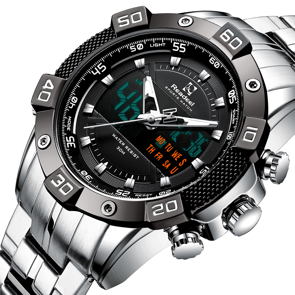 Readeel Luxury Brand Men Analog Digital Stainless Steel Sports Watches Men's Military Watch Man Quartz Clock Relogio Masculino